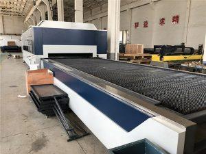 2kw cnc pemotong serat laser, laser cutting dan mesin ukiran dengan meja pertukaran