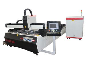 pelat baja paduan cnc serat laser mesin pemotong drive ganda efisiensi tinggi